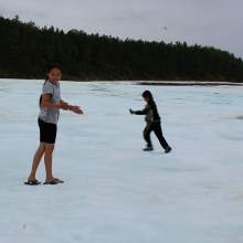 Slippers on the ice